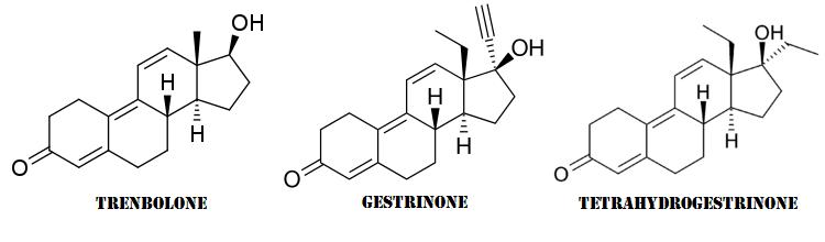 Differenze strutturali tra una molecola di Trenbolone, una di Gestrinone e una di Tetrahydrogestrinone.